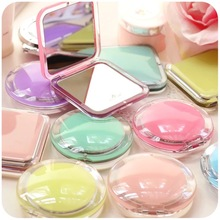 For Girl Ultra-thin Make Up Pocket Mirror Cosmetic Square circle Foldable Double side  Makeup Mirrors Gift acrylic