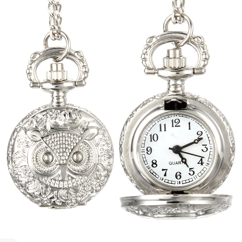 Fashion Men Women Vintage Quartz Pocket Watch Unisex Sweater Chain Watches Necklace Owl Pendant Clock Gifts LXH