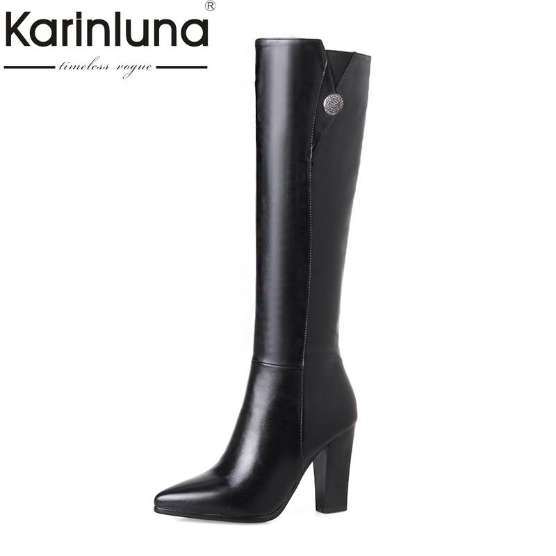 KARINLUNA/2018 плюс Размеры 33-43 Женская обувь Острый носок высокий каблук Сапоги для верховой езды зимние Сапоги до колена обувь Chaussure