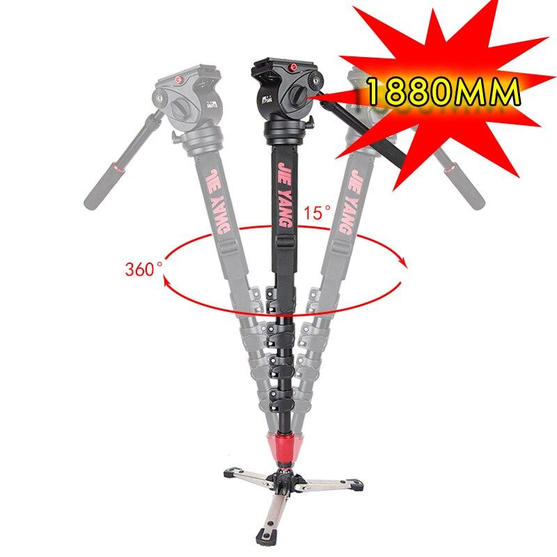 Nouveau PROGO JIEYANG JY0506B monopode professionnel en aluminium pour vidéo et caméra trépied tête sac de transport JY0506 hauteur améliorée 1880mm