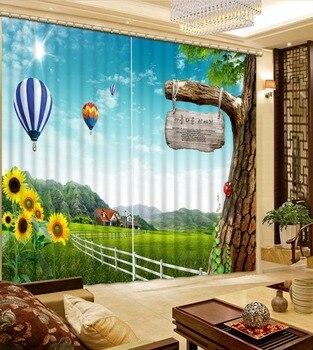 Bens Home Cortinas Blackout Cortinas Sob Encomenda Qualquer tamanho 3D Hotel Quarto Sala de estar Cortinas de Janela Balão prado 3d Foto