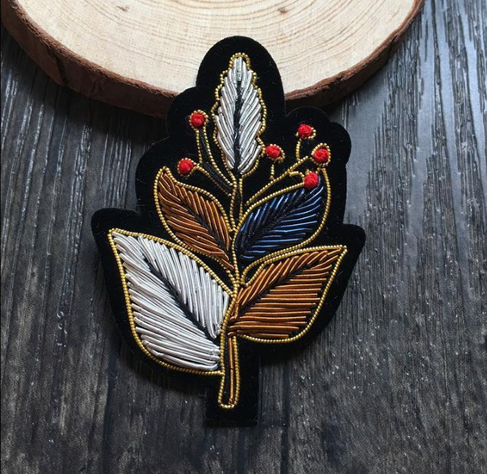 Diy Handmade Embroidered Patch: Tree Flower Silk Emboridered Patch Brooch India Silk Wire