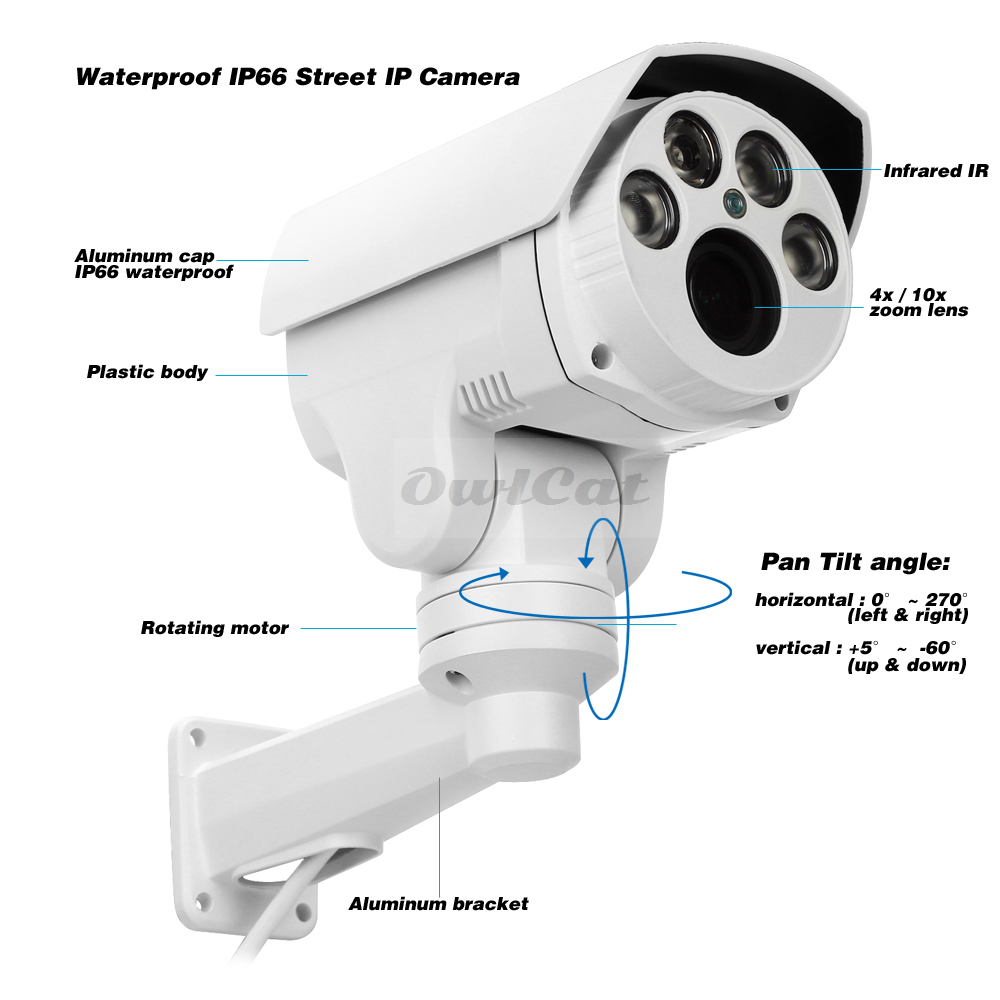 Image 5 - Owlcat Full HD 1080P 5MP PTZ IP Camera Outdoor 4X 10X Optical Zoom Pan Tilt Rotating Onvif CCTV Security Surveillance IR Camera-in Surveillance Cameras from Security & Protection