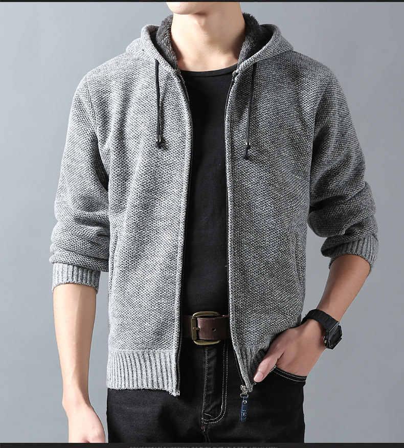 Новинка 2018, мужской свитер из искусственной шерсти, осенне-зимний толстый свитер, пальто, мужской однотонный флисовый свитер с капюшоном, бархатная куртка, верхняя одежда