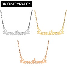 Men Gold Chain Stainless Steel Custom Necklace Initial Alphabet Vintage Rose Gold Necklace Women Personalized Wedding Jewelry stainless steel initial necklace rose gold alphabet disc pendant necklace initial jewelry for women girls
