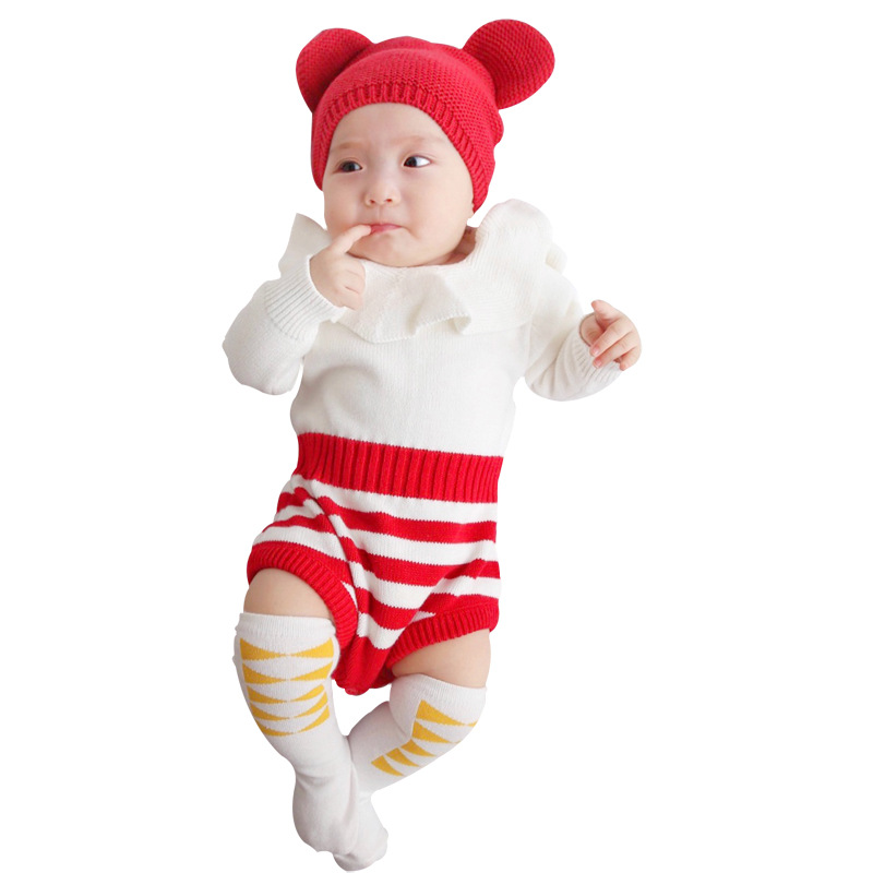 Cute Newborn Baby Girl Knit Rompers Long Sleeves Toddler Girls Onesie Spring Infant Jumpsuits Children Overalls Stripes Costumes