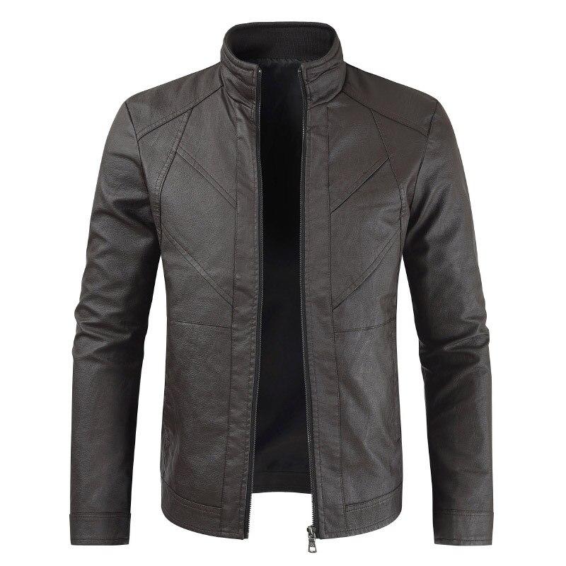 Homens Primavera Jaqueta de Couro dos homens Casuais gola Motocicleta Jaqueta De Couro PU Casaco Outerwear roupas Masculinas jaqueta de couro