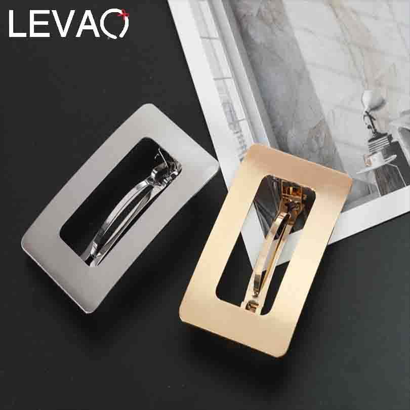 LEVAO Women Metal Solid Color Rectangle Horsetail Headwear Hairpins Barrettes Girls Hair Clip Ponytail Holder Hair Accessories