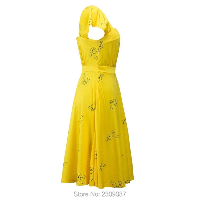 7edb2c43fd8a76 La La Land film żółty Mia sukienka Cosplay elegancka sukienka w stylu  Vintage, 1950 s Party sukienki z krótkim rękawem letnie sukienki damskie  Vestidos WXC ...