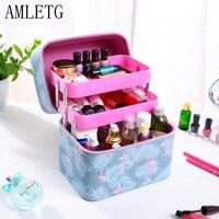 AMLETG Neceser Professional Vanity Cosmetic Bag Organizer Women Travel Make Up Cases Big Capacity Cosmetics Suitcases