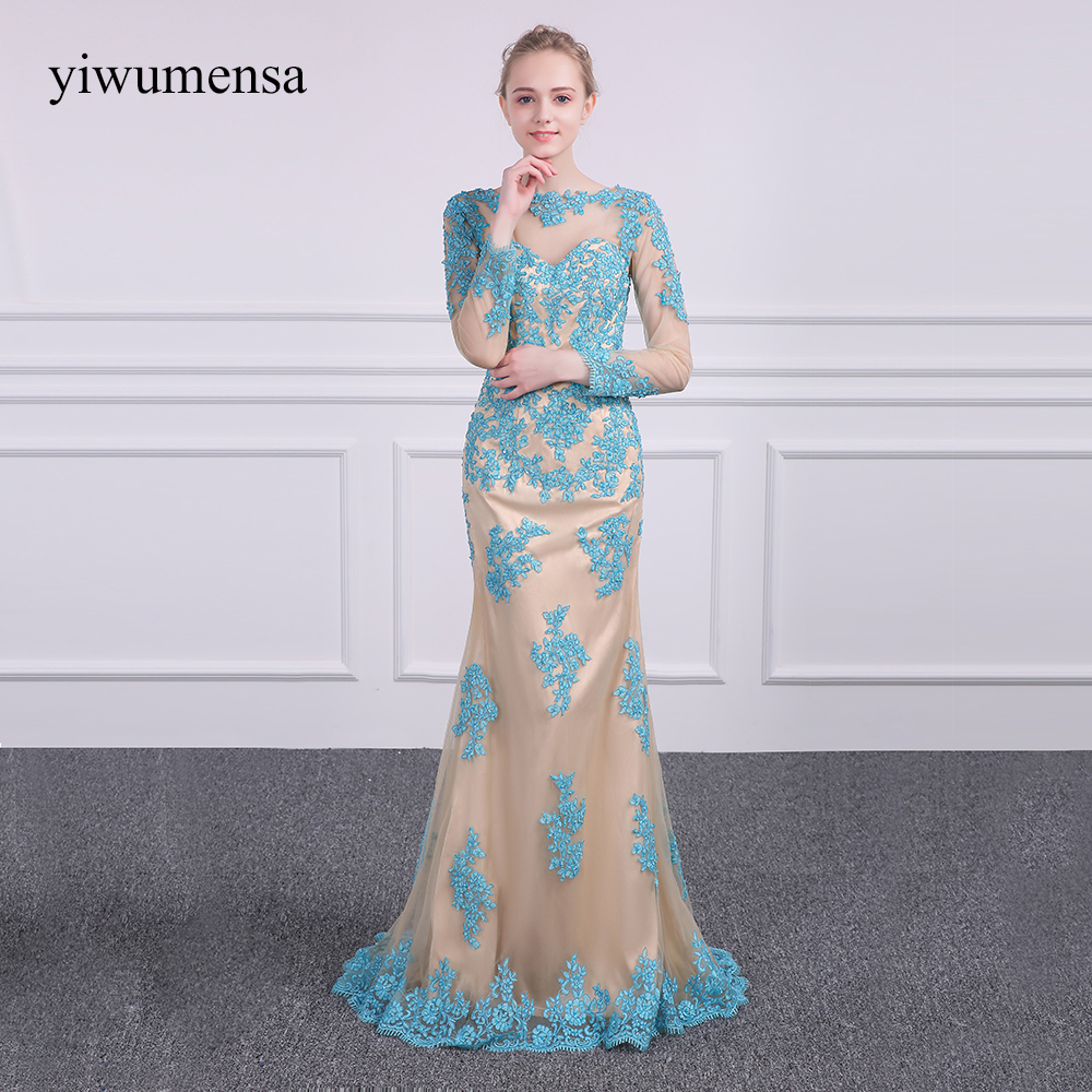 yiwumensa Vintage Blue with Champagnes Mermaid Prom dresses 2018 Long Sleeves lace appliques Prom dress Party Gowns New Arrival