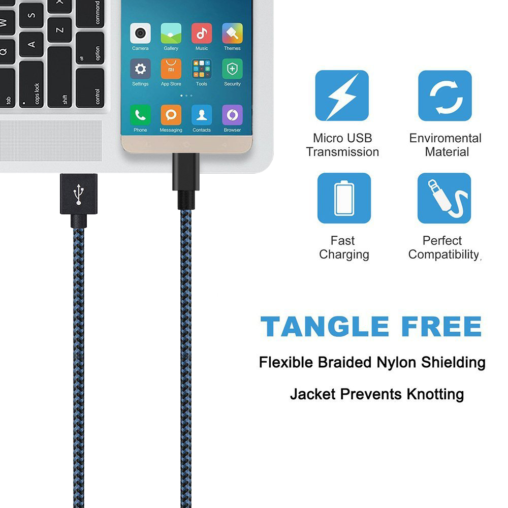 Suntaiho 2.4A Micro USB Cable for Android Phone USB Cable 5Pack Fast Charging Data Cable Micro USB for Samsung Huawei LG Meizu