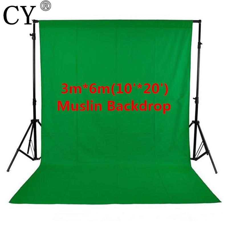 Photo Studio photographie 10ft x 20ft/3 m x 6 m Studio fond solide mousseline toile de fond vert 100% coton haute qualité PSB3B