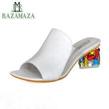 Купить с кэшбэком Sexy Lady High Heel Sandals Solid Color Slipper Peep Toe Summer Shoes Women Party Beach Vacation Leisure Footwears Size 34-41