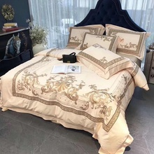 Luxury European Style Royal Embroidery 100S Egyptian Cotton Palace Bedding Set Duvet Cover Bed Linen sheet Pillowcases 4pcs