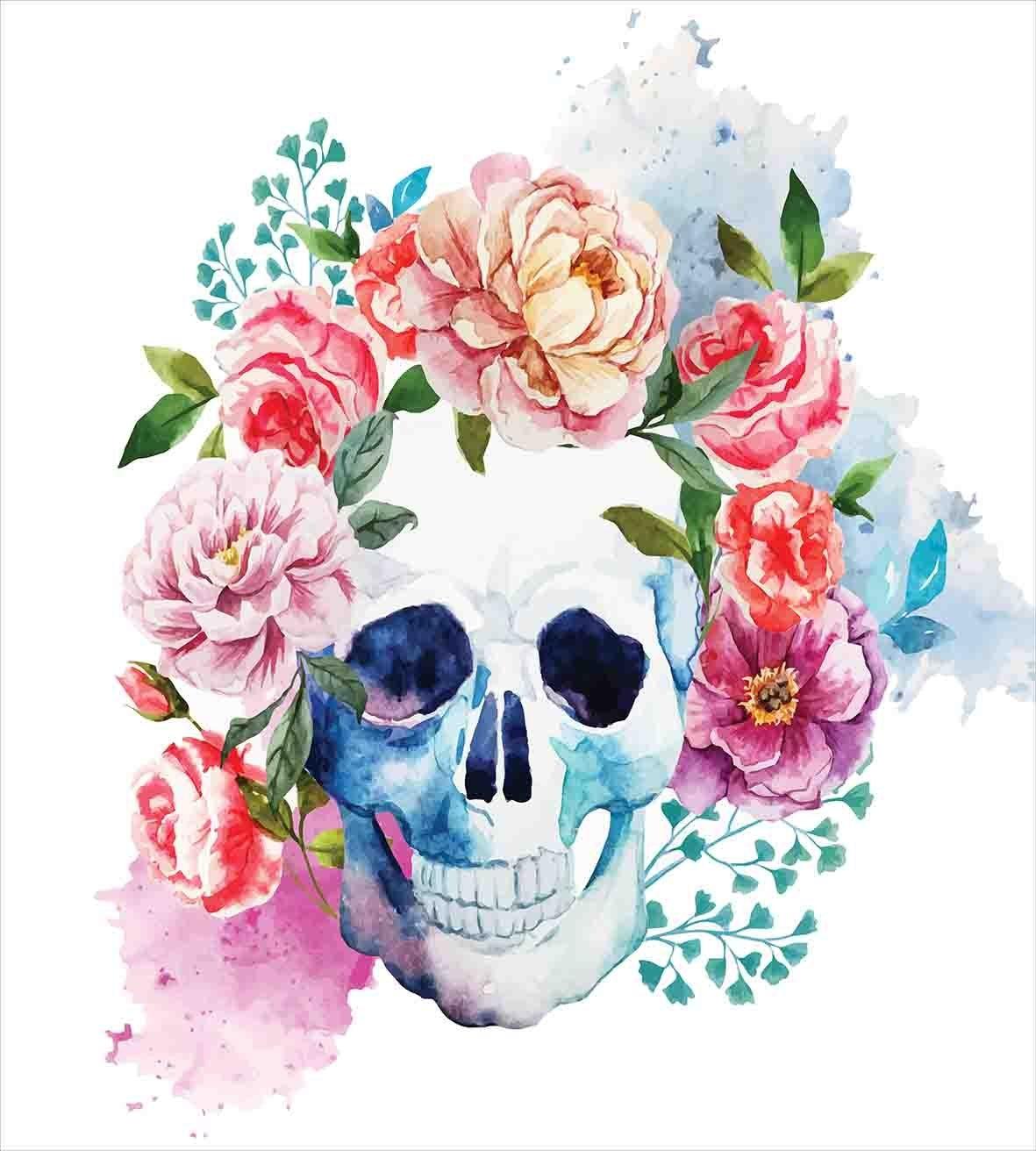 Набор пододеяльников для пуховых одеял с изображением черепа, размер королевы, смешной череп, красочная цветочная голова, викторианский стиль, мертвый скелет, графический Рисунок, Комплект постельного белья - 2