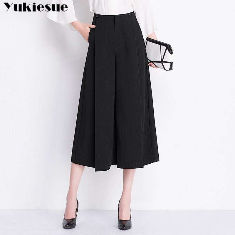 chiffon   wide     leg     pants   capris for women high waist loose OL office black ankle length   pants   women's trousers female Plus size