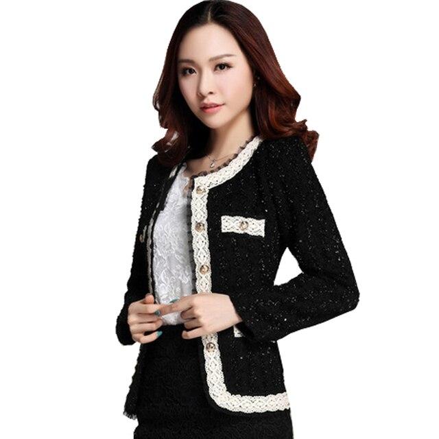 4c84fdeff € 16.55 5% de réduction|2018 nouveau blazer femmes paillette formelle  blaser veste pour femme travail porter grande taille dame manteau costumes  ...