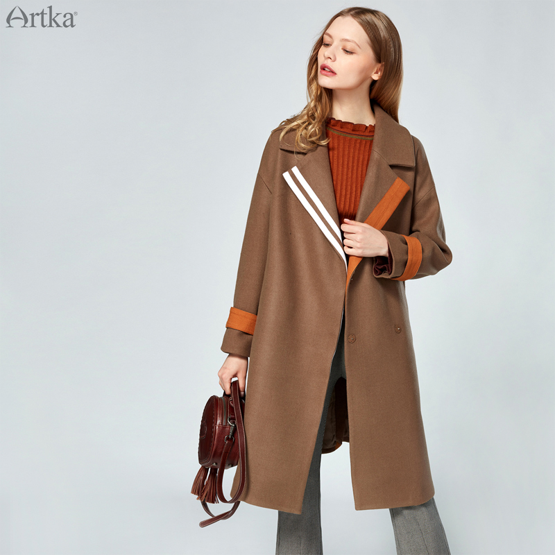 CLEARANCE ARTKA Autumn Winter New Classic Large Turn down Collar Stitching Fashion Simple Woolen Coat Female