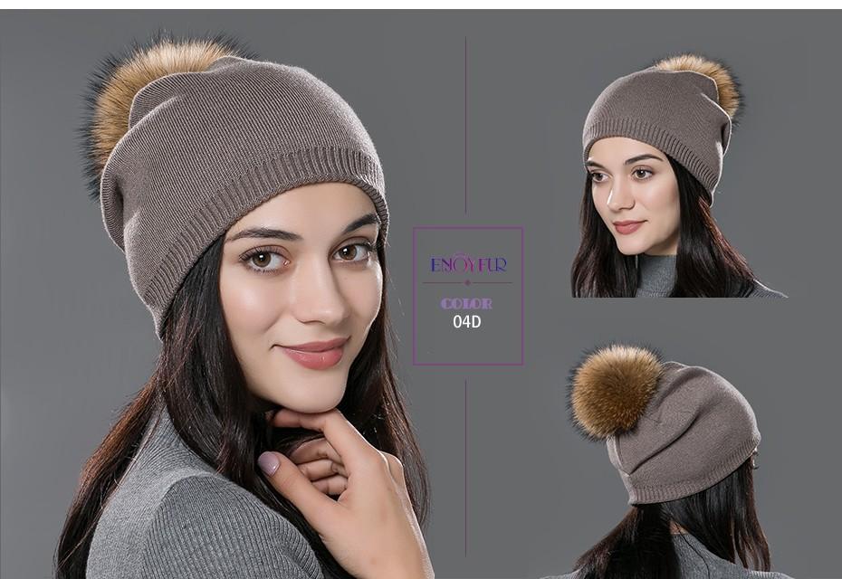 Bonnet en laine chaude et son pompon en fourrure