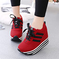 2017 Spring Newest Women's Shoes Wild Fashionable Thick Inside Height Casual lace training shoes student female single shoes