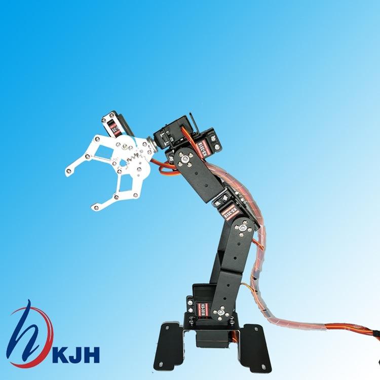 Totalmente ensamblado 6 DOF Brazo de robot + Garra mecánica + 6 UNIDS Servos de alto torque + base de acero inoxidable, chasis rectangular, envío gratis