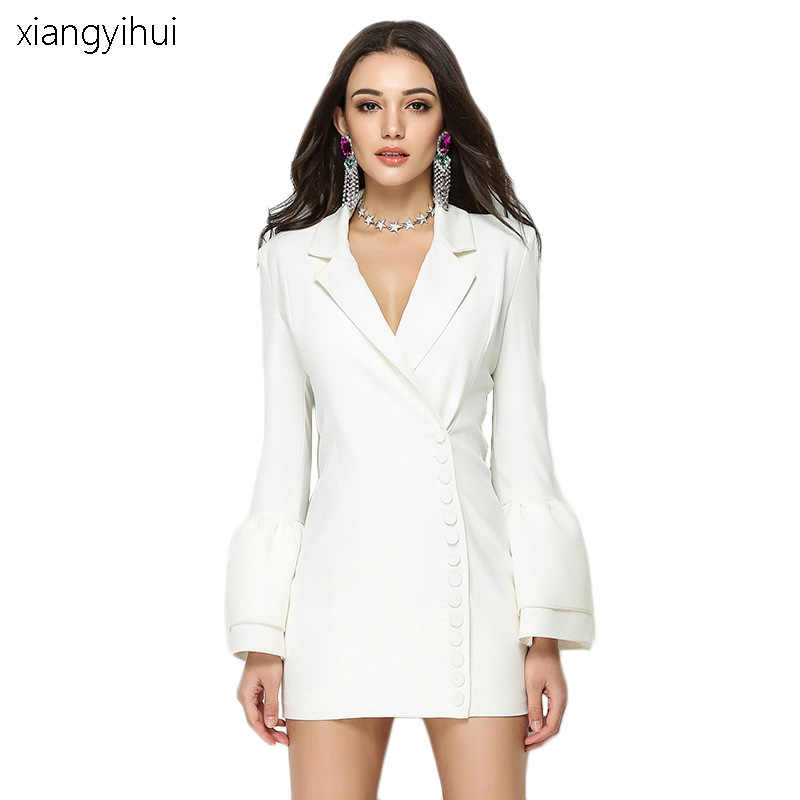 6d0c2f16e428 Autumn Winter Suit Blazer Dress Women Fashion Casual Black White Mini Work  Dresses Flare Long Sleeve