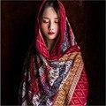 Cuadrado grande de La Bufanda de Las Mujeres Chales Hijab Borlas Franja Impresa Sarga de Algodón Pañuelo A Cuadros de Color Brillante 2016 de la Nueva Venta Caliente A2302