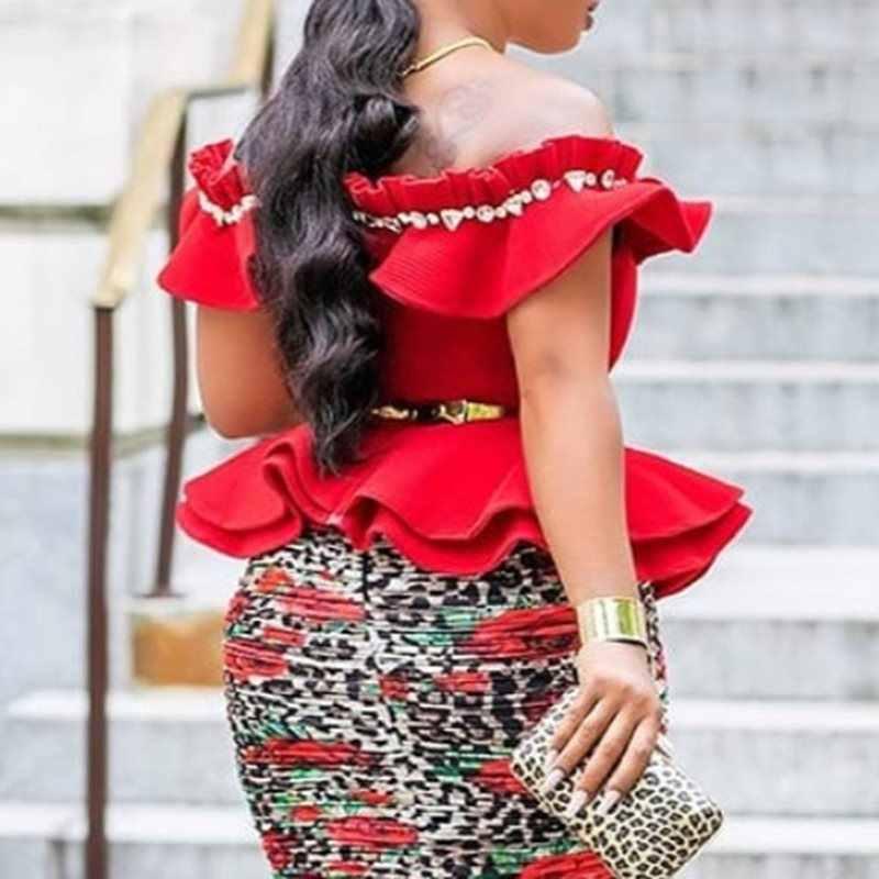 Летние Элегантные сексуальные Клубные Большие размеры милая блузка женская обтягивающая, с открытыми плечами простые Falbala шикарные винтажные Африканские модные топы рубашки