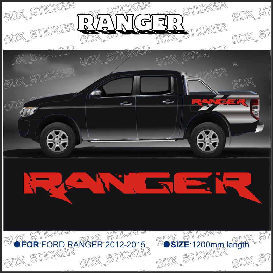 ranger side stripe graphic Vinyl sticker for FORD RANGER car decals 2 pc hilux hilux chequered racing side stripe graphic vinyl sticker for toyota hilux decals