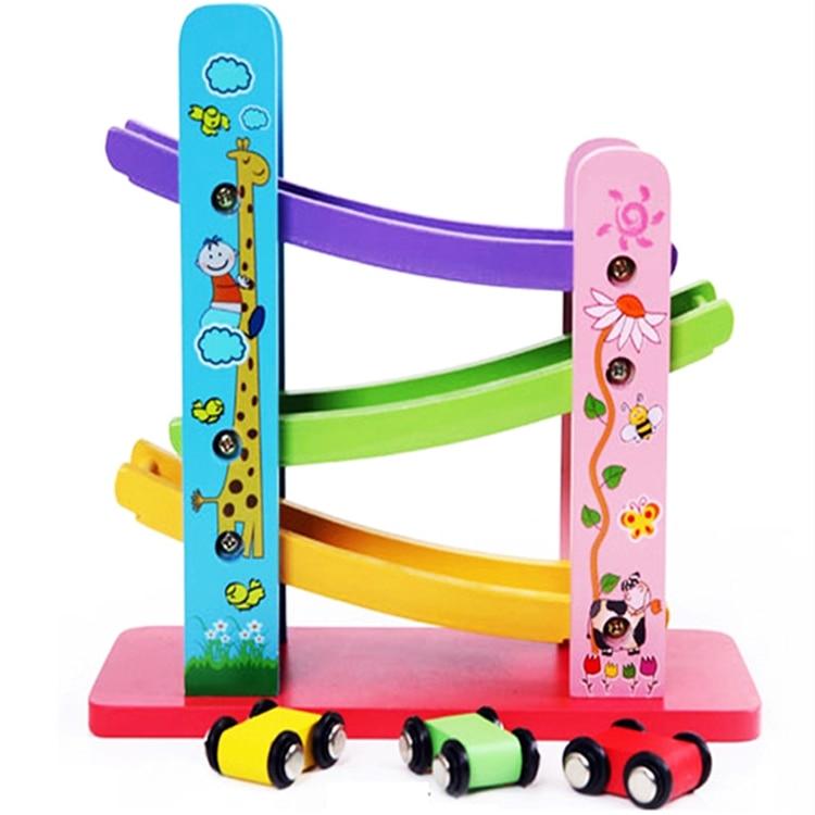 wooden three layerd track gliding miniature speeding car track mini cars children educational wooden toy