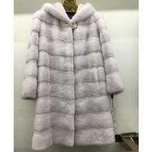 Natural furs women coats Fashion long genuine mink coat real mink fur coat Thick Warm Turn-down Collar/fur hood