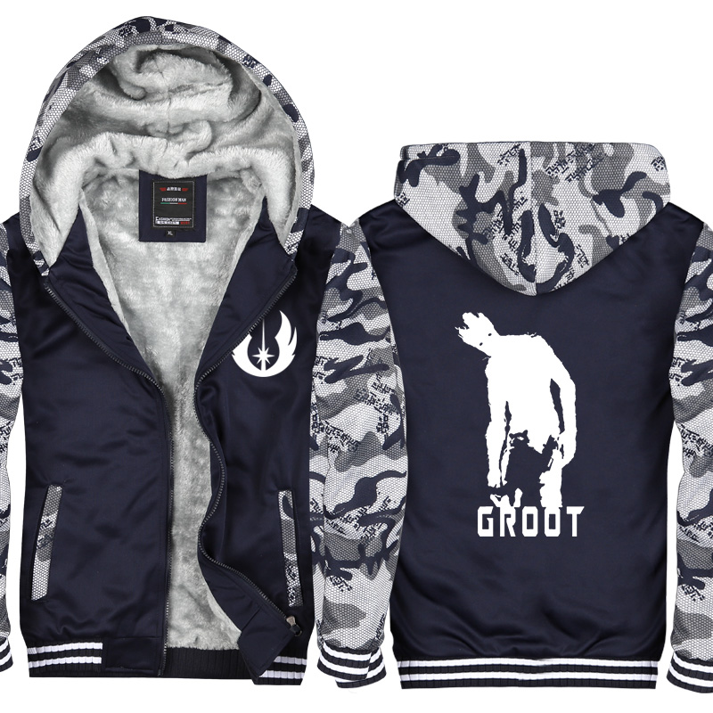 Autumn Winter New Printed Guardians of the Galaxy Hoodies Men Warm Fleece Zipper I Am Groot Sweatshirts Men Coat Jacket CM436