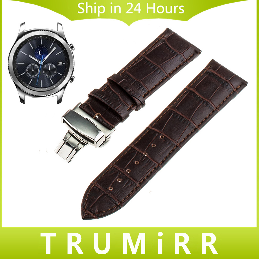 22mm Genuine Leather Watch Band Butterfly Buckle Strap for Samsung Gear S3 Classic Frontier Garmin Fenix