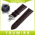 22mm de Cuero Genuino Reloj Band + Butterfly Buckle + Herramienta para samsung gear s3 classic frontera de pulsera pulsera de la correa negro marrón