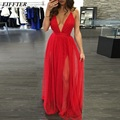 EIFFTER Women Deep V-neck Maxi Dress Casual Summer Beach Chiffon Party Long Dresses Style Cheap Vestidos De Festa F0507