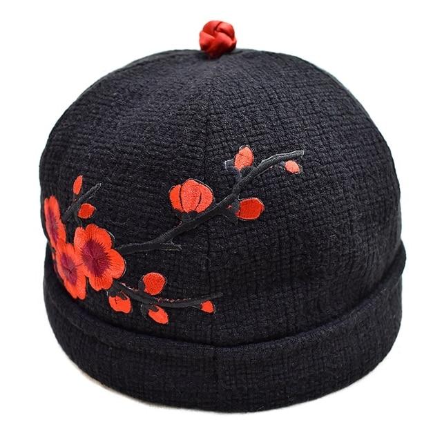 Skullcap Sailor Cap Rolled Cuff Retro Fashion Brimless Hat embroidery  beanie Unique Street Casual Brim- a32791c0ead7