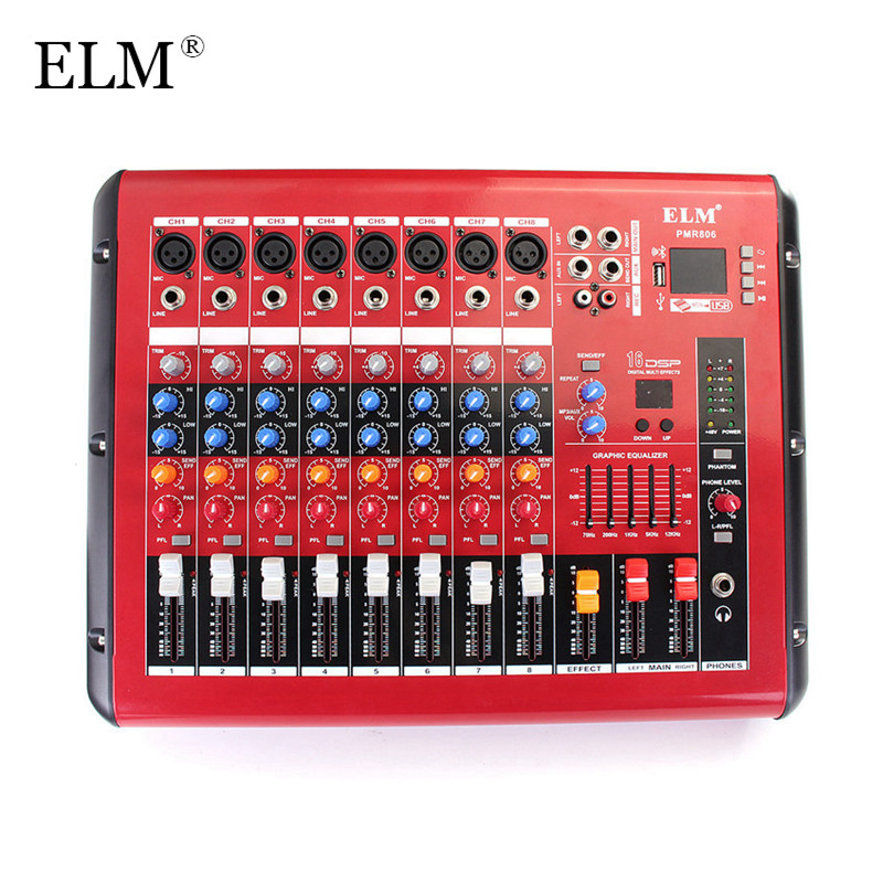 ELM Professional Karaoke Mixing Microphone Digital Sound Audio Mixer Console Bluetooth 8 Channel With Power Amplifier USB 48V professional 4 channel live mixing studio audio sound console network anchor portable mixing device vocal effect processor