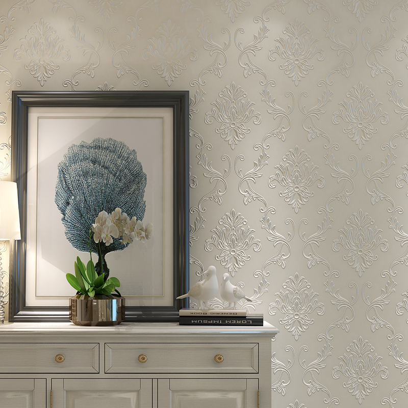 3D Embossed Non-woven Wallpaper Luxury European Damask Wall Covering Wall Papers Home Decor Living Room Bedroom Modern Design european high quality luxury non woven wallpaper roll cream gilt flocking embossed textured feature bedroom home decor papeles p