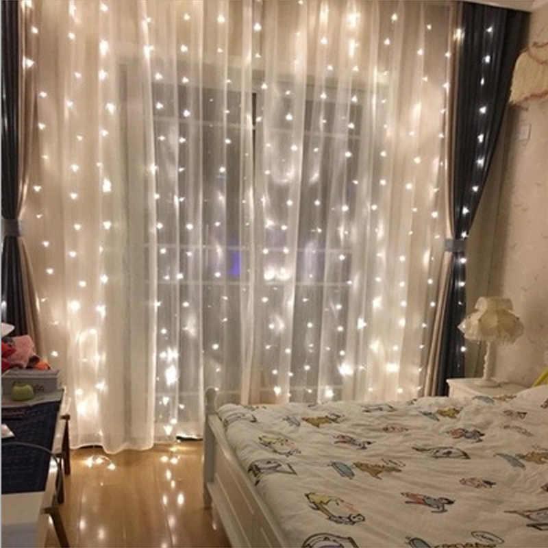2019 Новый ЕС/США штекер 4,5 м * 3 м 300 светодиодные огни мигающий переулок светодиодный занавес свет Рождество домашний сад Праздничные огни