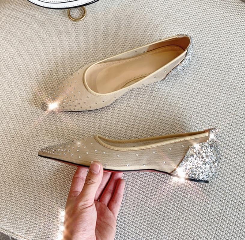 Confortables Gold Femme Bout Air Plat Fille Cristal Mocassins Mesh À D'été Décontractées Avec Myfitgo Pointu Femelle Blingbling silver Chaussures FKcuTJ13l5