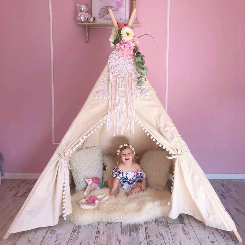 все цены на Cotton Canvas Tipi Tent Toys for Children Lace Teepee for Kids Girls Playhouse Birthday Gifts Indoor Game Room 4 Poles