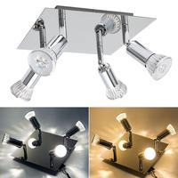 Spot light square 4 way ceiling spotlight night light aluminum finish 5W SMD LED GU10 bulbs