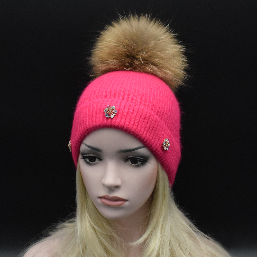 2017 New brand Winter Beanies Ladies Knitted Wool Warm Hats Fashion PomPon Real Raccoon Fur Caps Skullies Hat For Women Fur Cap wuhaobo the new arrival of the cashmere knitting wool ladies hat winter warm fashion cap silver flower diamond women caps