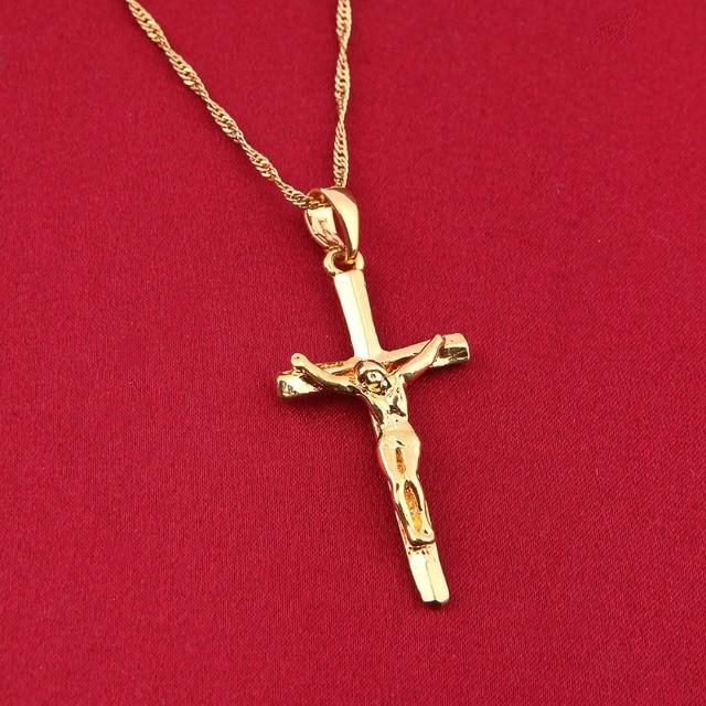 Jesus cross pendant necklace fashion christian crucifix 24k jewelry jesus cross pendant necklace fashion christian crucifix 24k jewelry for women men religious cross pendant russia aloadofball Image collections