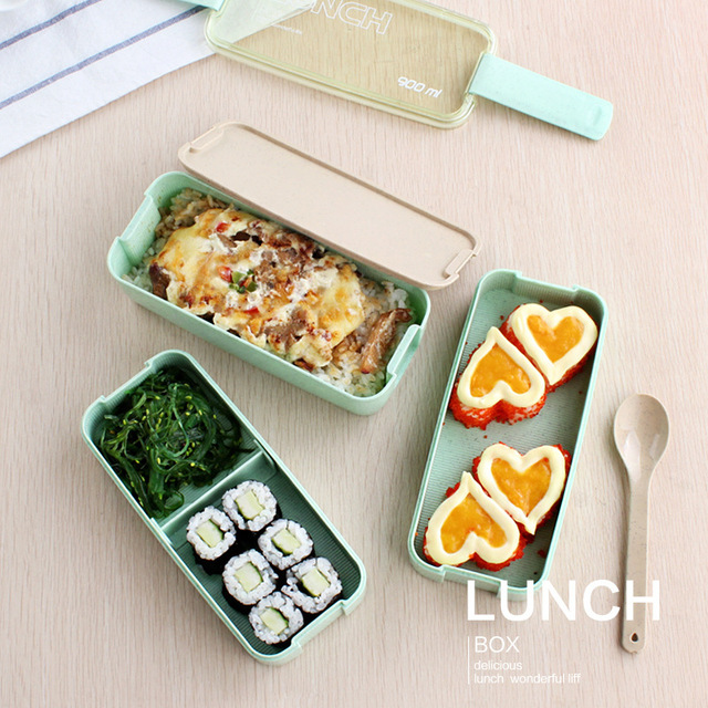 3 layers lunch box dinnerware wheat straw microwave oven bento boxes kids picnic camping food container