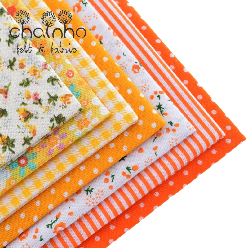 Tunn bomullstygpatchwork för syning av Scrapbook Cloth Fat Quarters Tissue för Quilt Needlework Pattern 50 * 50cm Yellow 7st