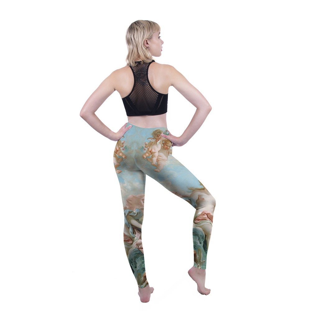 FCCEXIO Women New Leggings High Waist Fitness Legging Venus Print Leggins Female Pants Workout Leggings Slim Sporting Trousers