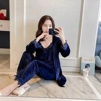2018 Autumn Velour Robe Sleepwear Sets Womens 3 Pieces Strap Top Pants Suit Casual Pajamas Sexy Nightwear Kimono Bath Gown