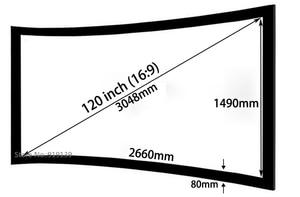 Image 2 - Écran de Projection cinéma bon Gain 16:9 écrans de projecteur à cadre fixe incurvé 120 pouces HD blanc mat pour laffichage cinéma 3D